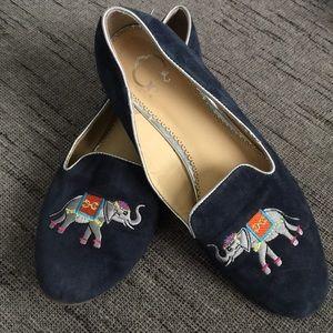 C. wonder Embroidered elephant loafer Blue Suede 9